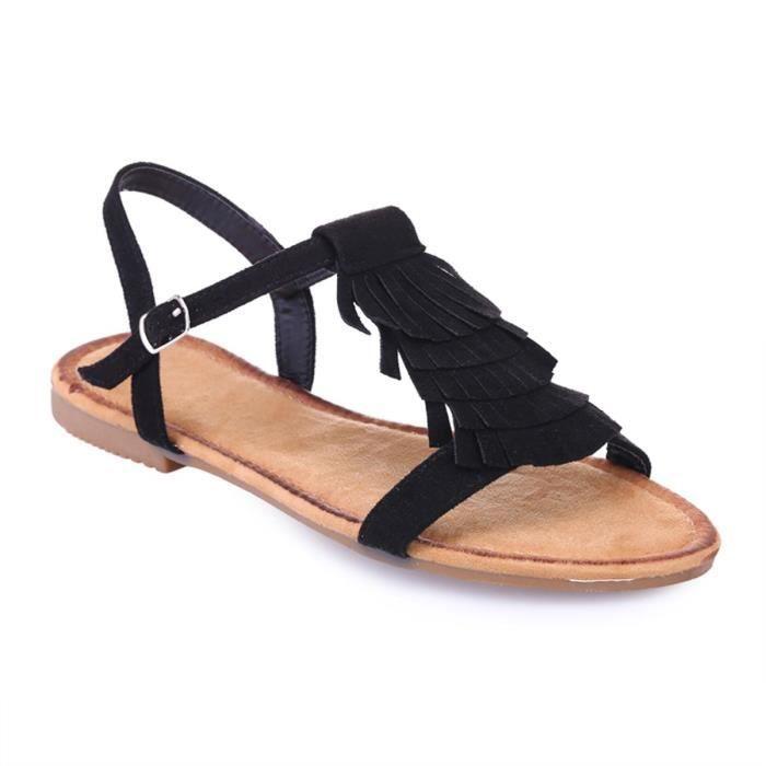 Noires Franges Sandale 36 À Noir Sandales Vente Nu Achat PXZkuwTOi