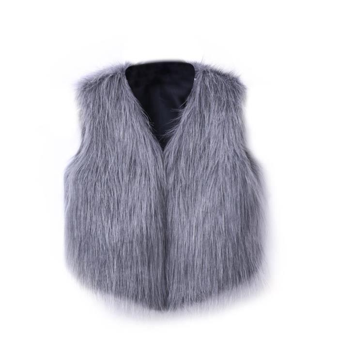 Gilet Col Fausse En Manteau Veste V Manches Outwear Femme Sans Fourrure Chaud Gris cqTwxCXX