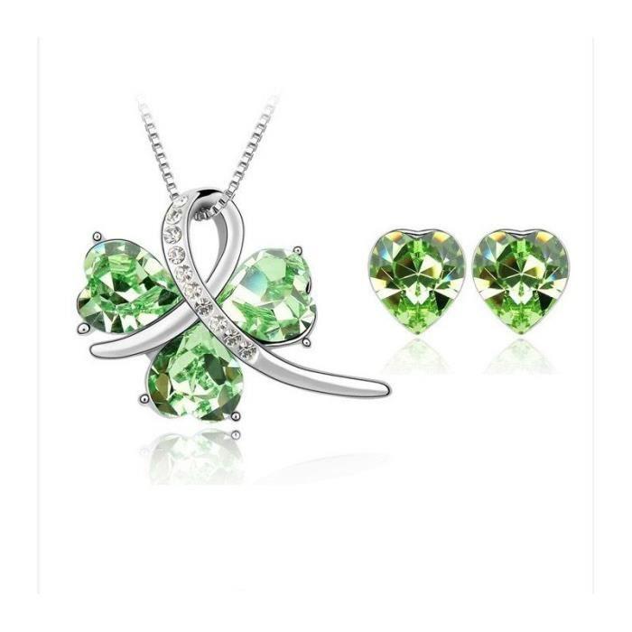 DEPOT TRESOR Parure bijoux Rencontrecollier & boucles d?oreilles en cristal Swarovski Elements - Vert péridot