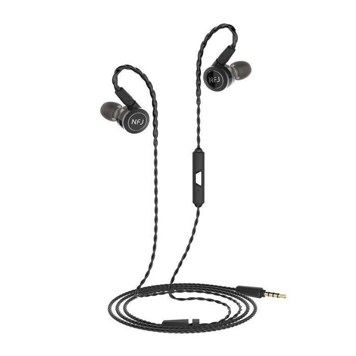 Okcsc Nfj N300 Ecouteurs Intra-auriculaires Unité À Bobine Mobile, Câbles Mmcx Amovibles, Noir Avec Micro