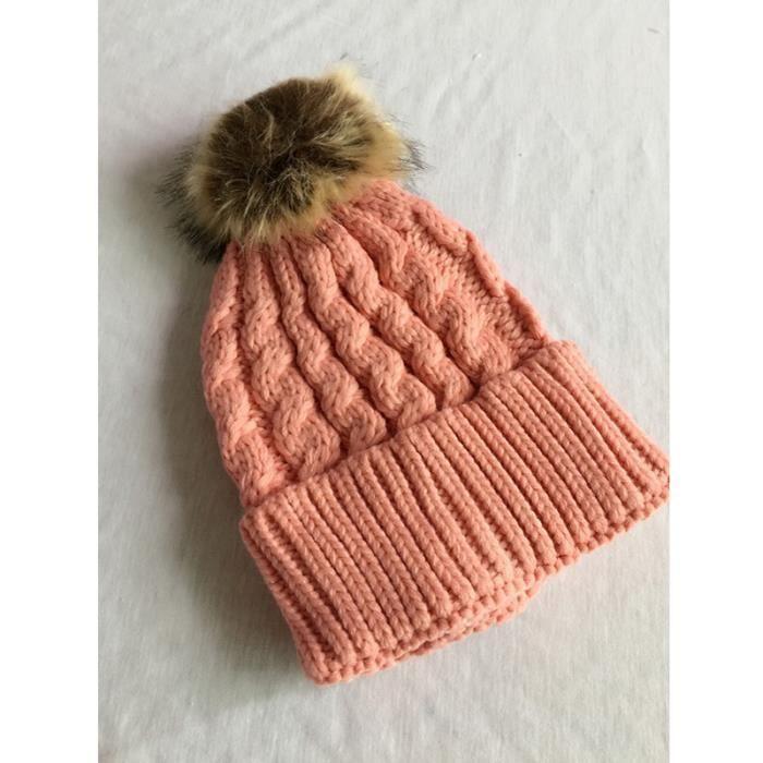 2aa9be7f67 Femme Bonnet Pompon tricot Chapeau Hiver Ski Crochet Chaud Rose Rose ...