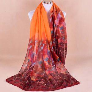 ... ECHARPE - FOULARD Femmes en mousseline de soie imprimé souple Shawl ... 75ac8df5015