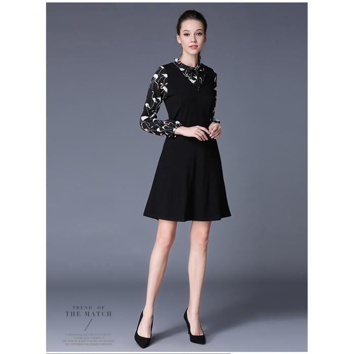 Haute qualité bureau coton nouveau automne 2017 noir femmes robe manches longues grande taille impression élégante