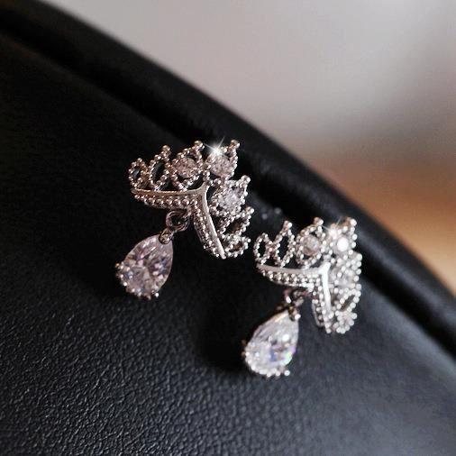 Bijoux mode 2018672 boucle doreille argent sterling S925 couronne originale pleine de diamants incrusté de zircon pendentif