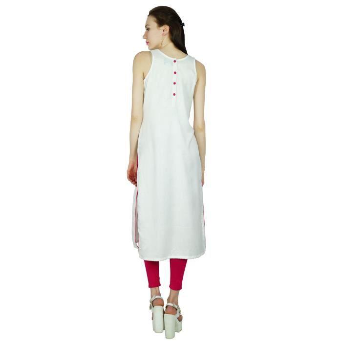 Blanc Style Robe Longue Fête Vêtements Kurti Femmes Bimba Indien Designer Rayonne Personnalisés Kurta Chic Porter 0nYxXn5vq