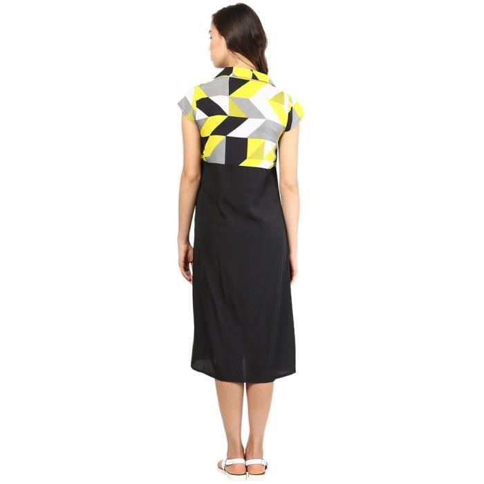 Womens Yellow Geometric Print Square Neckline Dress 1OB73S Taille-34