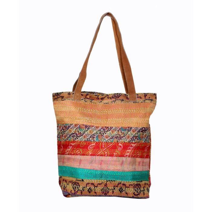 femmes vintage soie kantha travailler en cuir poignée sacs à bandoulière à la main L04JW