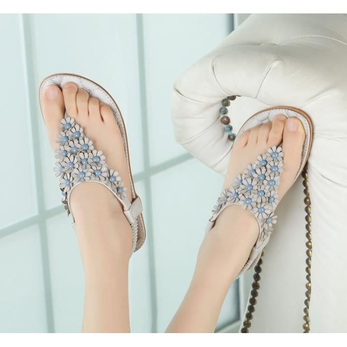 2017 Nouveau Douce Beauté Sandales Bohème Fleur Sandas Mode Chaussures d'été Femmes Souliers simple Sandales Taille 31-44,gris,36