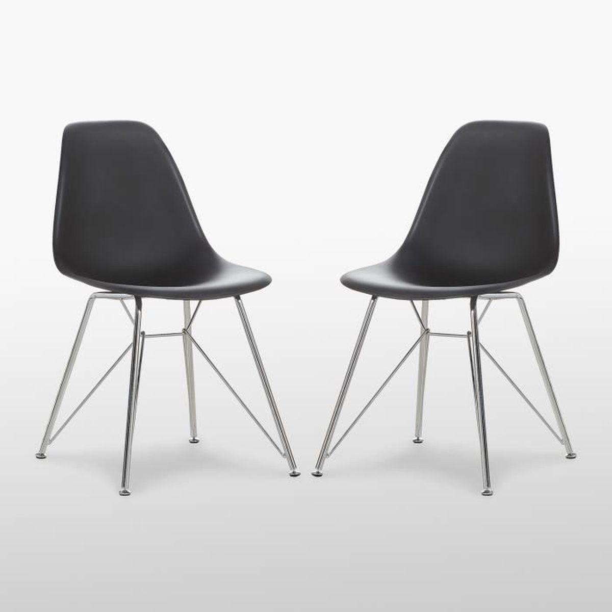 CHAISE Valentina Chaise Moderne Design Scandinave Noir Av