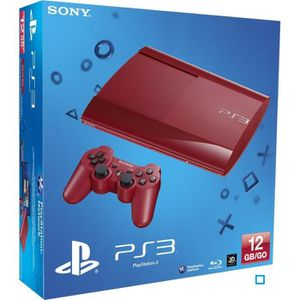 CONSOLE PS3 PS3 12 Go Rouge Ultra Slim + Manette DualShock 3