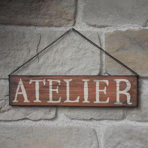 OBJET DÉCORATION MURALE Plaque Enseigne de Porte Murale Atelier Rouge 50 c