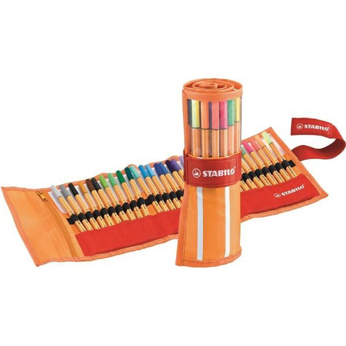 STABILO Rollerset rayé Orange et Blanc de 30 Stylos Feutre Point 88 dont 5 Fluo - Couleurs Assorties