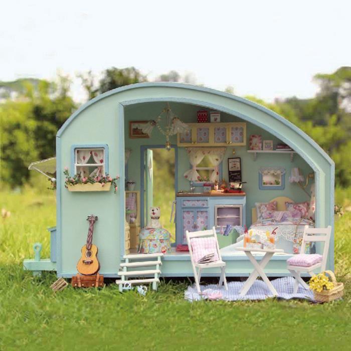 Bricolage En Bois Dollhouse Miniature Kit Maison De Poupée Camping