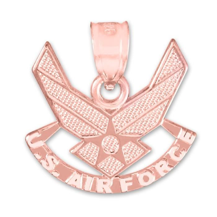 Collier Pendentif14 ct Or Rose 585/1000US Air Force Aile