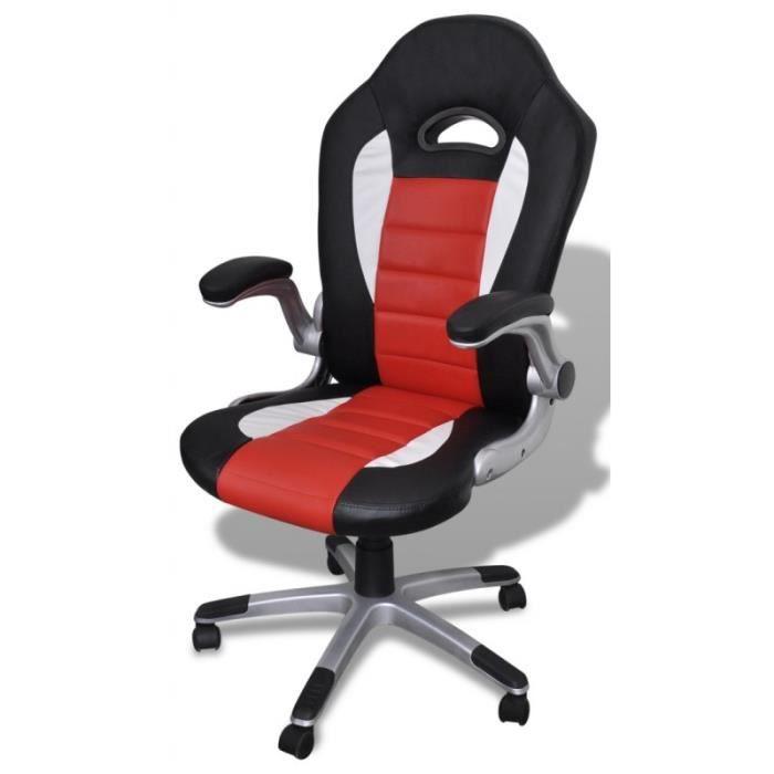 fauteuil de bureau sport cuir noir rouge 0502006 achat vente chaise de bureau noir cdiscount. Black Bedroom Furniture Sets. Home Design Ideas