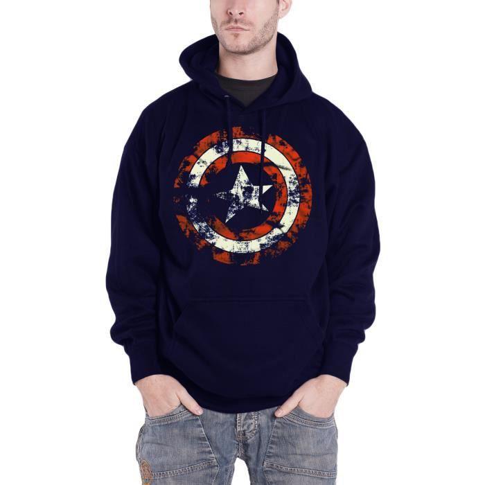 958270ee86b6c Captain America Sweat-shirt à capuche Marvel Comics Distressed Shield  officiel
