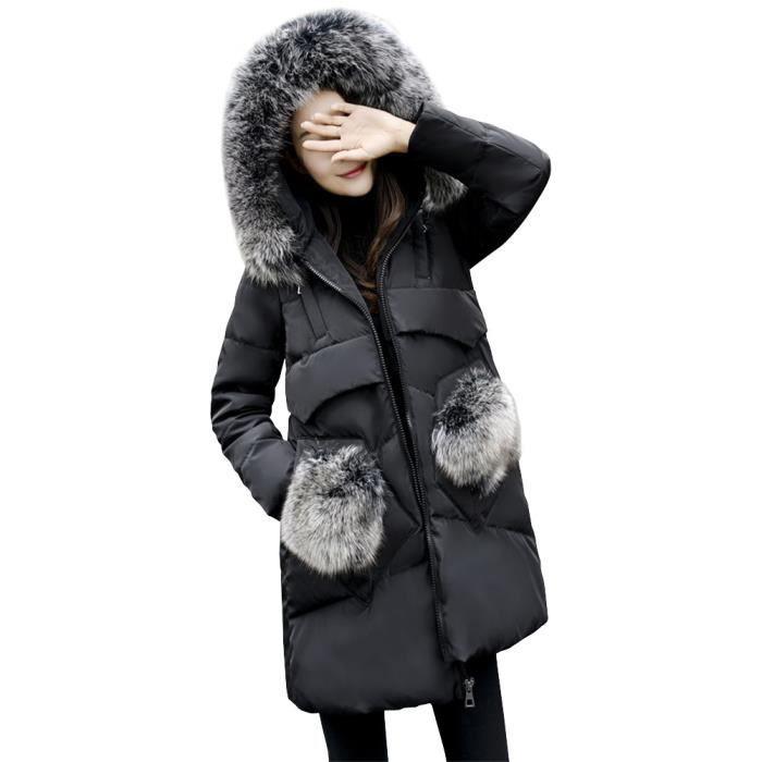 doudoune femme noir avec capuche fourrure taille