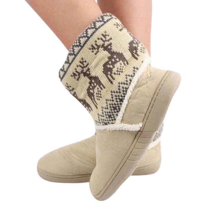 Bottines Femmes Deer Snow Boots hiver Coton-rembourré Chaussures FXG-XZ033Blanc40