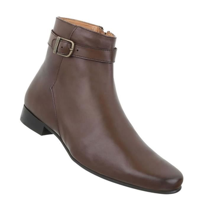 Chaussures Hommes Bottes Used optique cuir marron 46