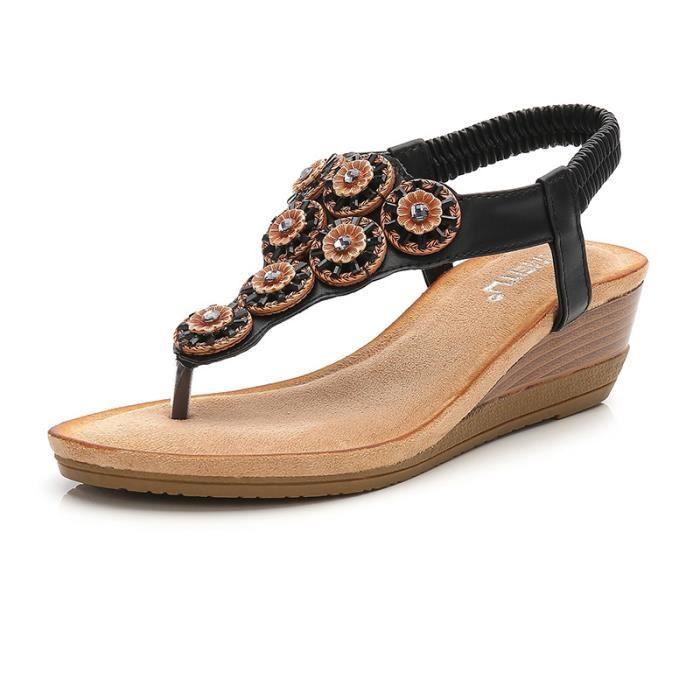 2f2dbd0a652e06 IZTPSERG Sandales compensées FEMME Noir Noir - Achat / Vente sandale ...
