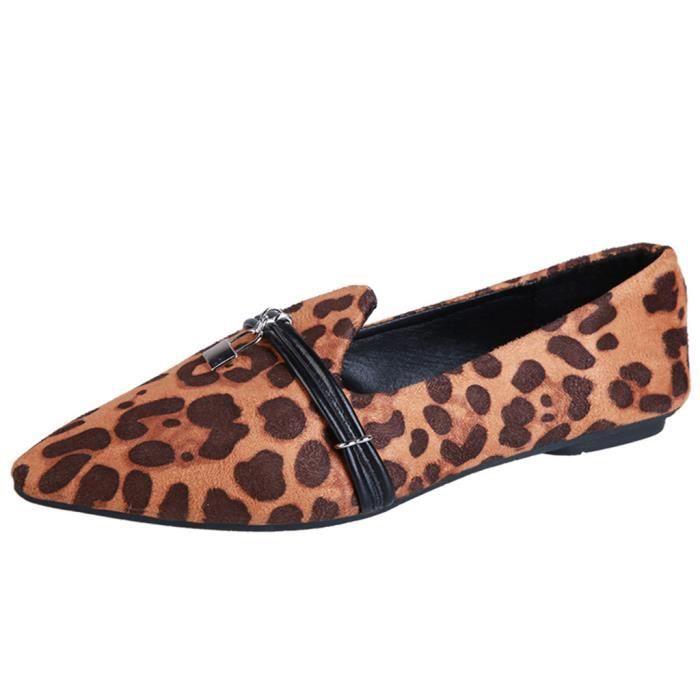 Dames Talon Mocassins Doug Simples Femmes Pointu Leopard Bout Veberge 7532 Plat Casual Chaussures Les wH58qtH
