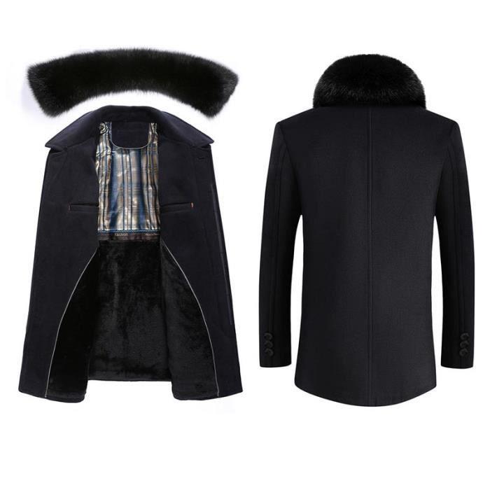 Homme hiver Coat Fashion Pardessus Automne Manteau Démontable Duffle Fourrure Courte Col Classique Fausse 4Epxdxw7q
