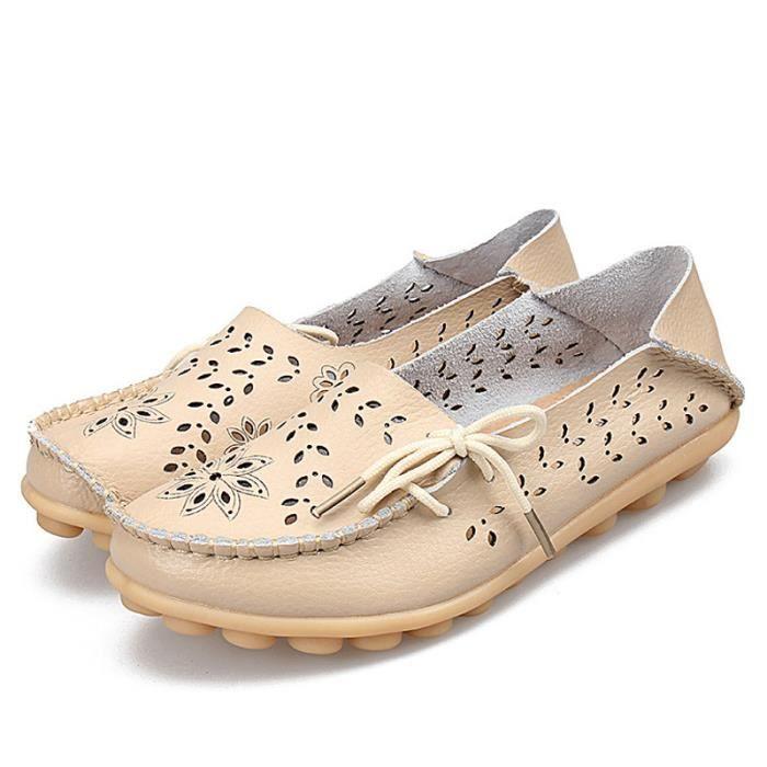 Mocassin Femmes Printemps Ete Mode Classique Plat Chaussure BYLG-XZ086Beige36