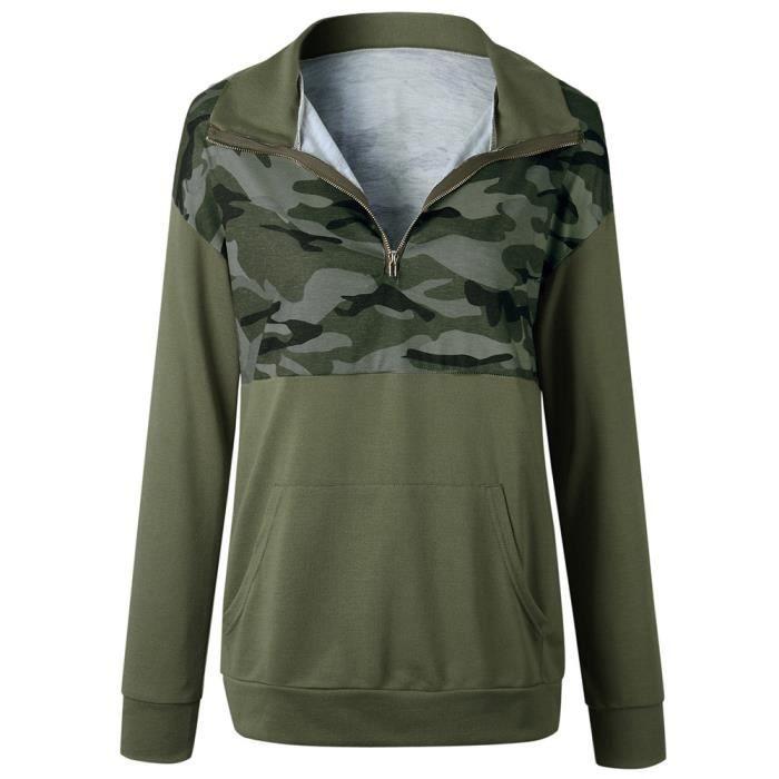 Zippered Camouflage Sweatshirt Sleeved Collar Woman Printed Vert Sweater Long nIqndS