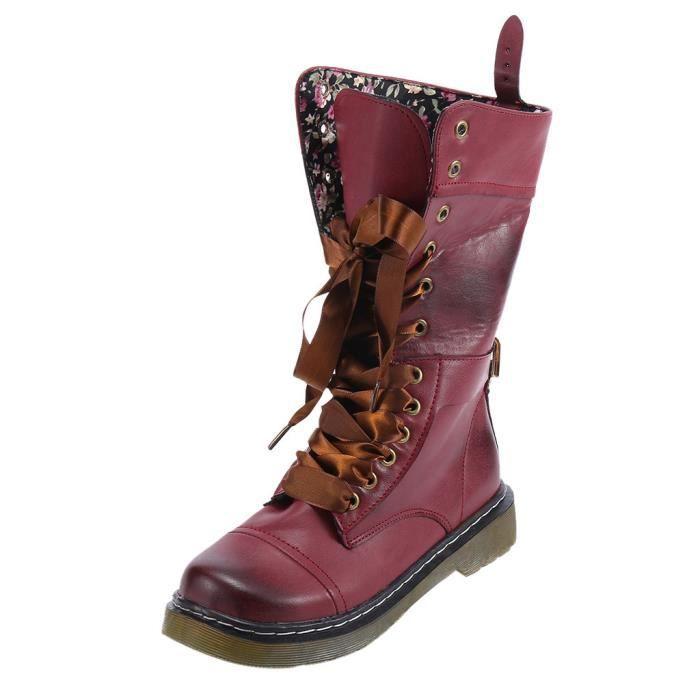 En Cuir Bout Boot Bl09080414430 Talons Lacets slip Chaussures Moyen Femmes Rond Plats Non Rtro 6Iw41qqxZ
