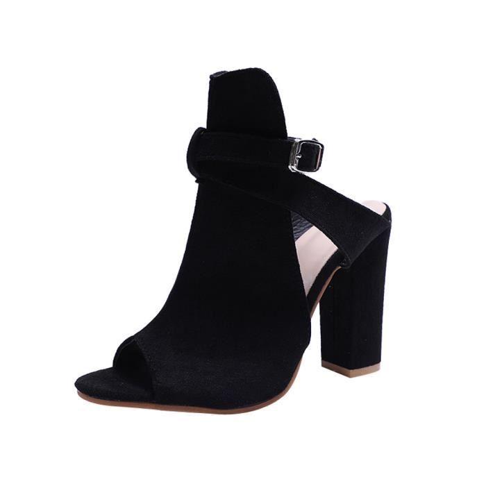 À Wedges Toe Moraillon Solide 40 Flock Chaussures Hauts Femmes Mode Sandales Noir Talons Peep nSp88q