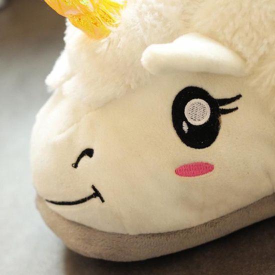 Mignon Paire de Chausson pour Femme Fille en Peluche Licorne Unicorne Bélier Blanc Pointure Unique pour 35-40 yutG5C6