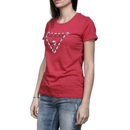 Tee shirt femme Guess W82i11 - K51r0 G503 Rouge Rouge Rouge - Achat   Vente  t-shirt - Soldes  dès le 9 janvier ! Cdiscount 873106ca975