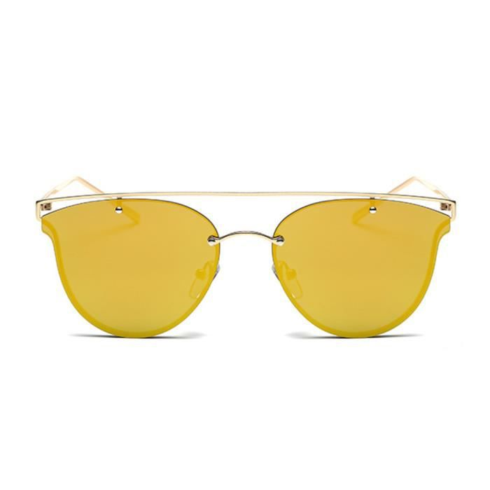 YKS fashion 159 frameless mode ovale lunettes de soleil de cadre dor pellicule jaune plat