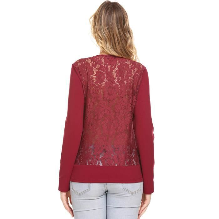 Top Long Neck shirt Back Casual Floral Notch T Lace 34 Sleeve 3dk9pk Taille ZEwqxCcA1O