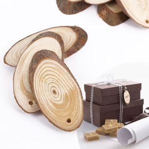 PORTE-CLÉS 25x Tranche Feuille en bois Ovale 5x3x0.5cm inscri