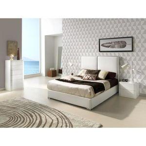 STRUCTURE DE LIT Lit KINLEY 160x200cm en PU blanc - L 200 x l 160 x
