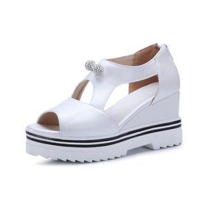 Pente Sandales Chaussure ronde croûte une Femme épaisse Nouveau avec Tête 60gF6