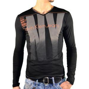 a34cab667b87f T-Shirt Calvin Klein manches longues pour hommes - CMP93T noir. Noir ...