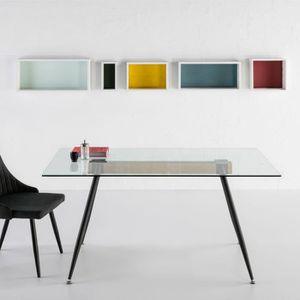 TABLE À MANGER SEULE Table de repas plateau Verre/pieds Métal - SKINNER