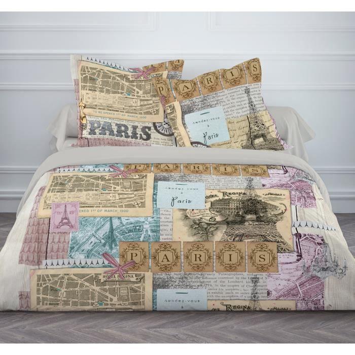 TODAY Parure de couette PARIS VINTAGE 100% coton - 1 housse de couette 220x240cm + 2 taies d'oreillers 63x63cm - Beige