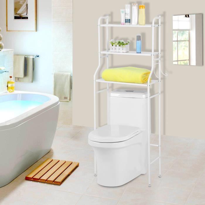 Etagère de WC salle de bains toilette meuble dessus WC rangement stockage -  blanc