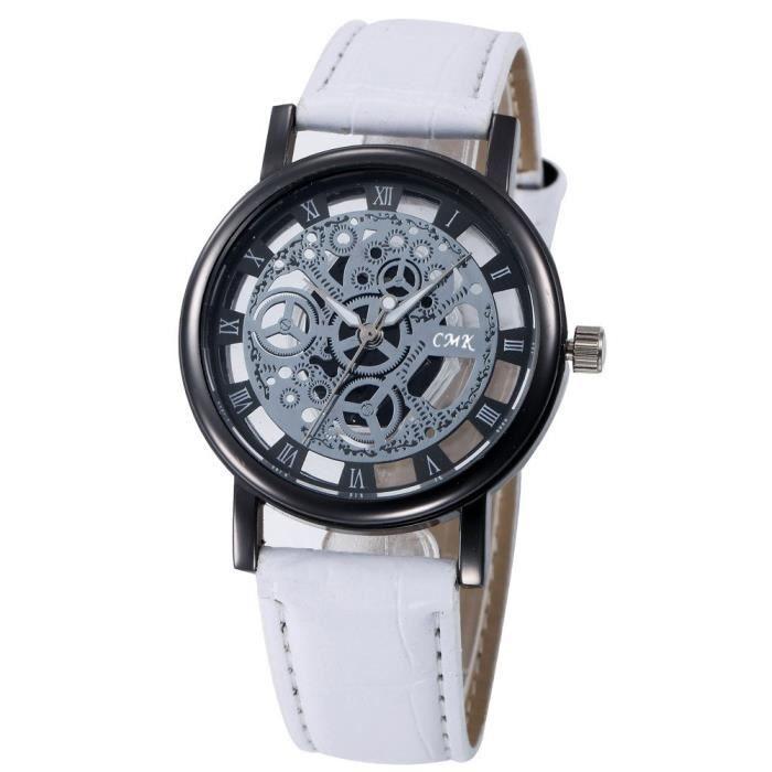 cfcb18466e1d Squelette Montre Femme Gravure Femme Creuse Reloj Hombre Robe Quartz  Montre-Bracelet En Cuir Bande Horloge Montre Relojes