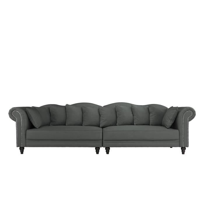 MORGANE - Canapé Chesterfield double extra-large - Velours ...