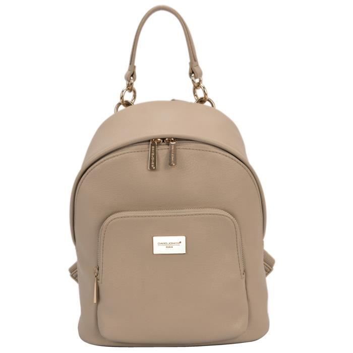 David Jones - Petit Sac à Dos Femme Petite Taille - Cartable Cuir Fille -  Fashion Backpack Mode Ville Cours Collège Tendance - Beige 0a0244aa50a