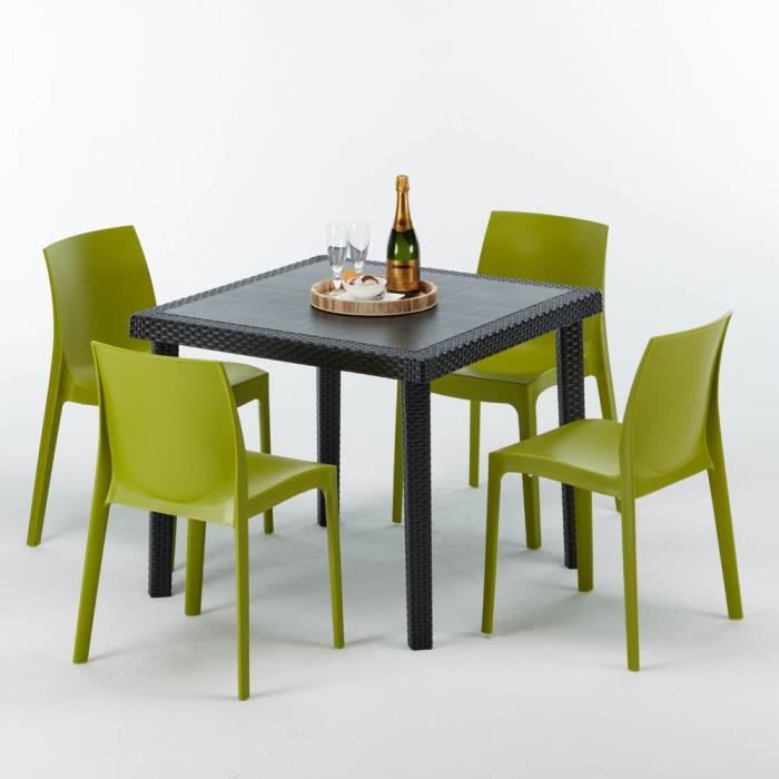 Table de jardin couleur anis - Achat / Vente pas cher