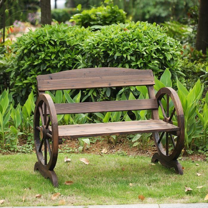 IKayaa Banc 2 places en bois extérieur jardin patio Style ...