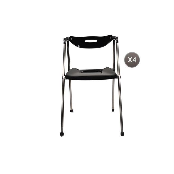 CHAISE Chaises Plexiglas Pliante Moderne Noir JULIE X 4