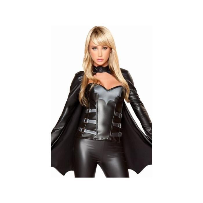 Costume d guisement de batwoman super h ros corset pantalon en cuir tenue noir pour femme noir - Liste de super heros femme ...