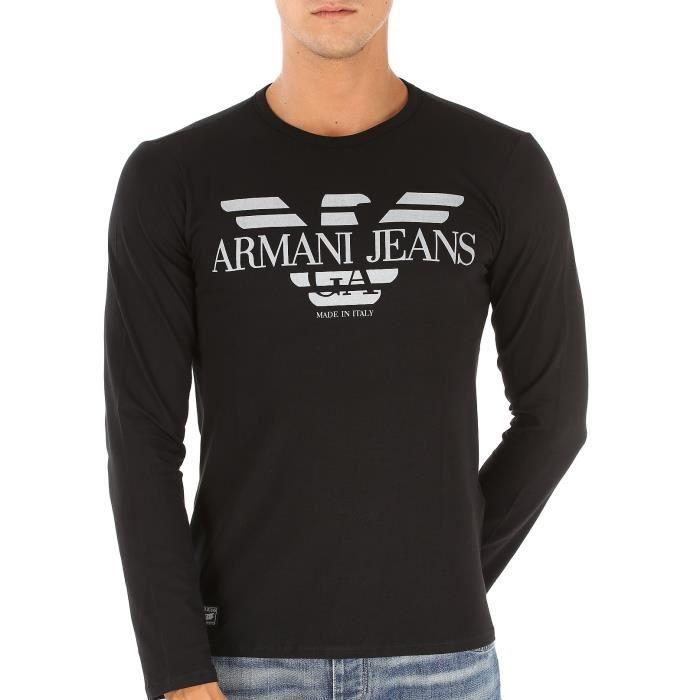 48220c5ddef4c Tee-Shirt Armani Jeans manches longues hommes B6H45 noir. Noir NOIR ...