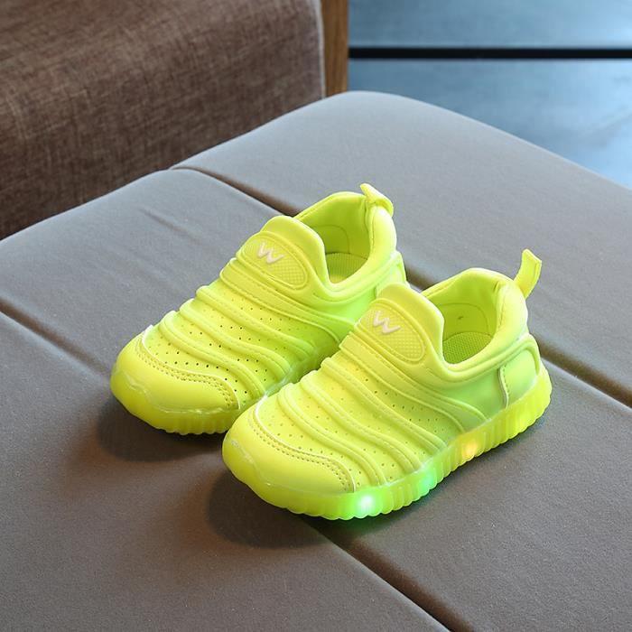 Baskets Enfants chaussures Garçons filles Bébé LED lumières Chaussures de sport